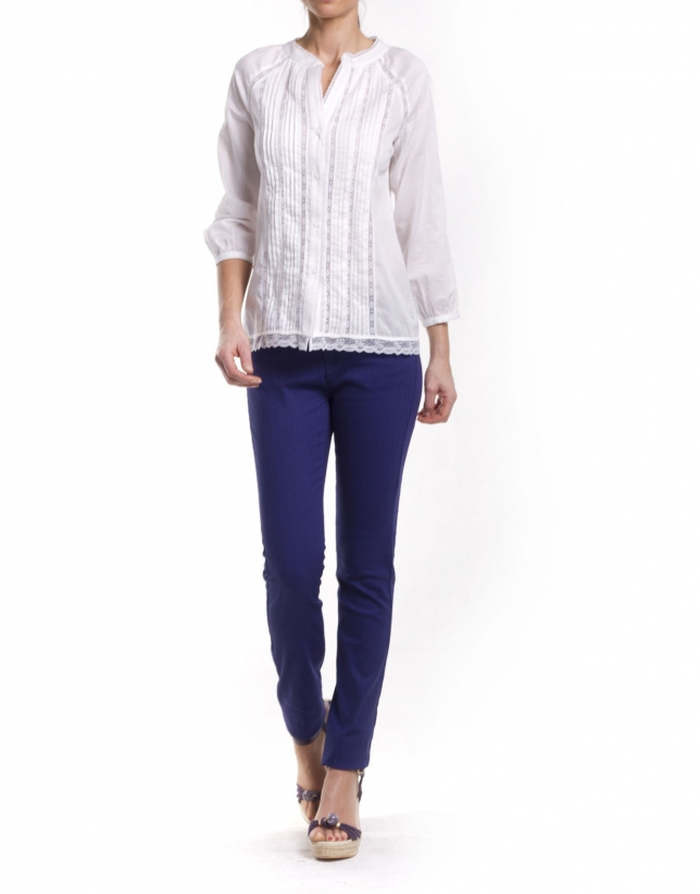 Cotton shirt with pin tucks and edging