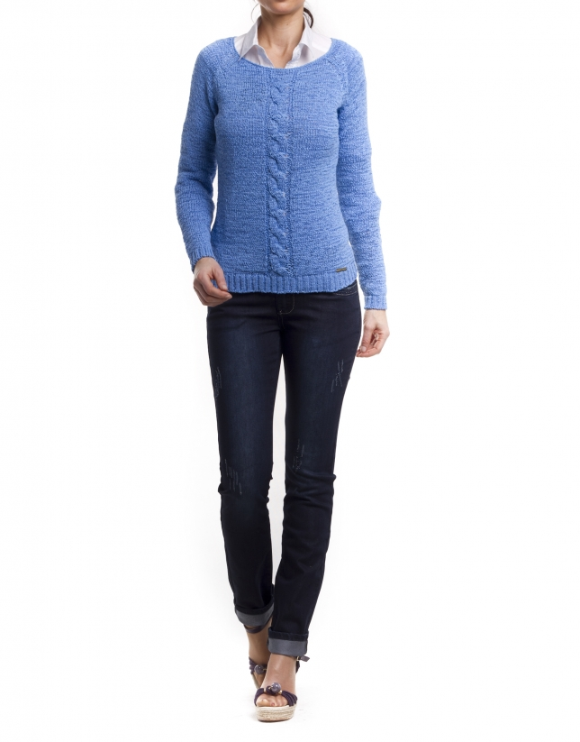 Pull coton manches longues