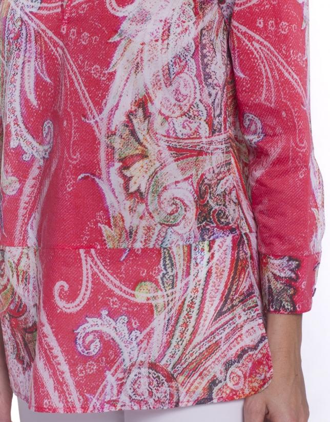 Chemise à motifs manches longues col rond