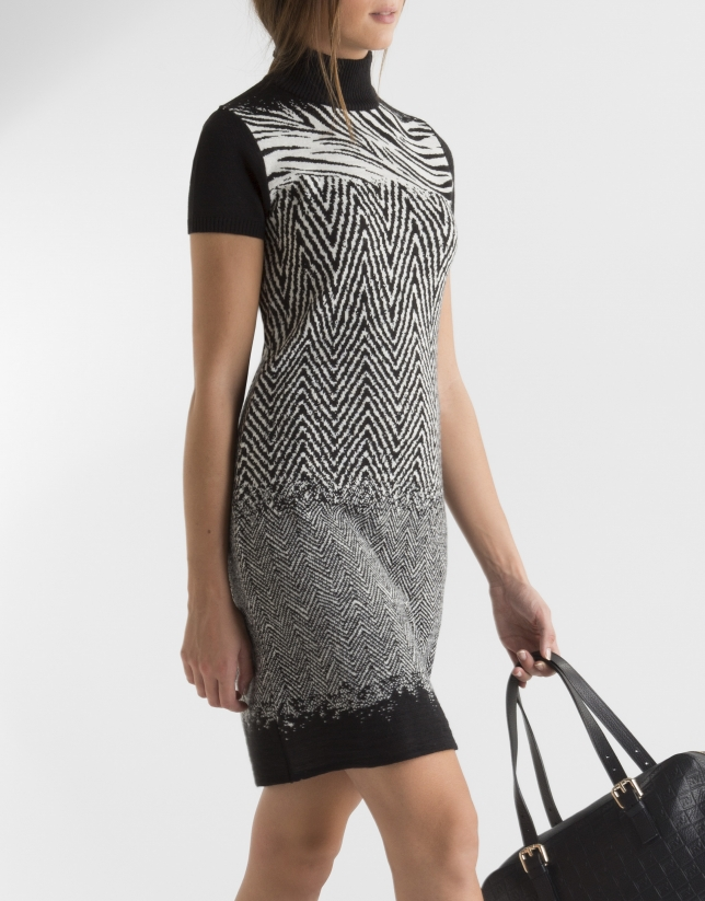 Zebra print dress with turtle neck