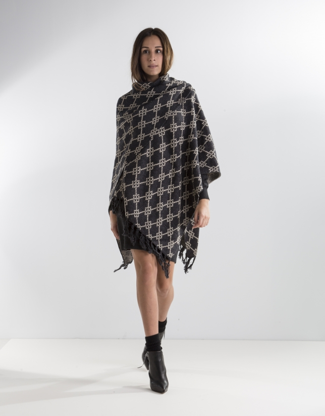 Grey fringed poncho