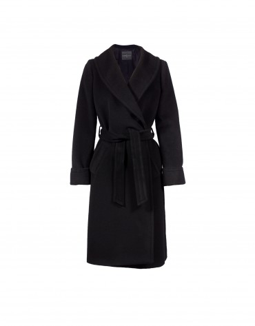 Black merino wool coat