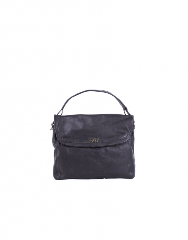 VIVIAN NEGRO: Smooth leather hobo bag with flap