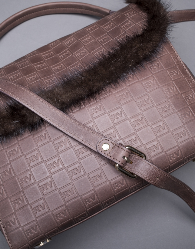 Brown leather Vivian bag with mink trimming and embossed RV