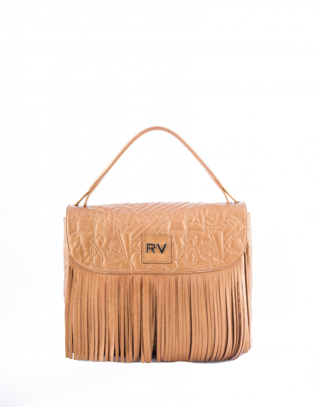 Bronze leather Vivian VIP hobo bag with embroidered logo