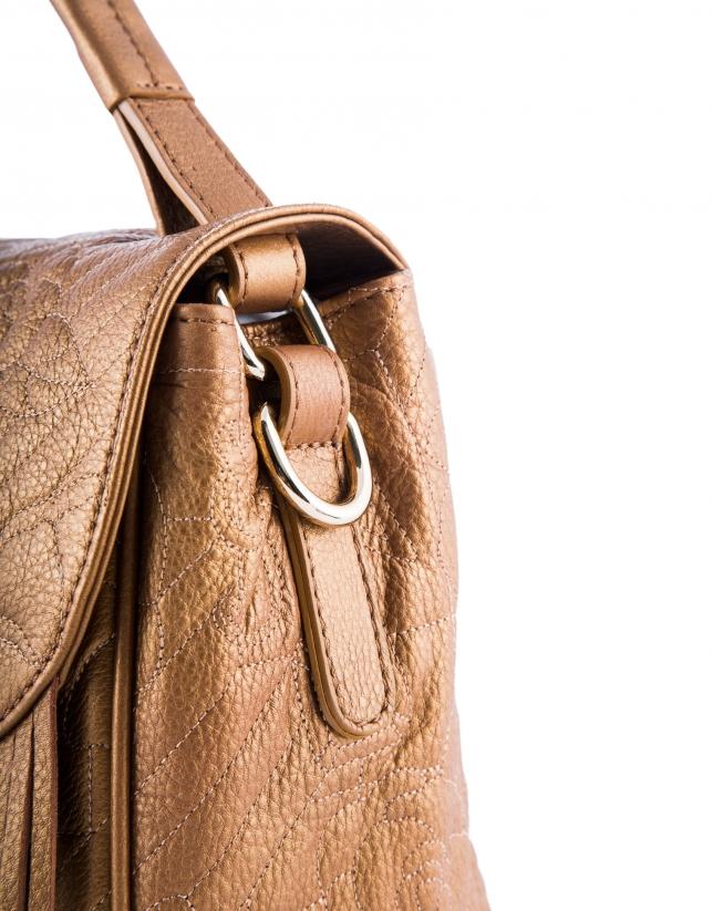 Vivian VIP : hobo en cuir vachette, couleur bronze, gravure RV