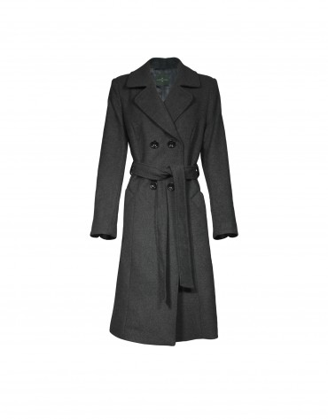 Grey double-breasted wool coat