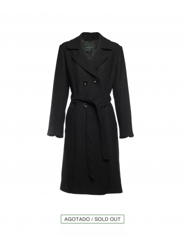 Black double-breasted wool coat