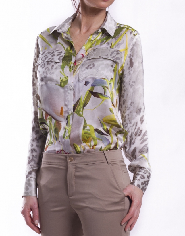 Long sleeve silk shirt