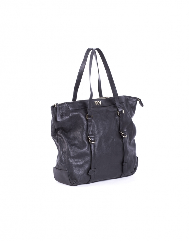 EDWARD NEGRO: Smooth leather shopping bag