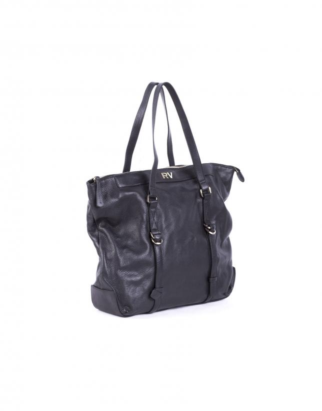 EDWARD NEGRO: Smooth leather shopping bag