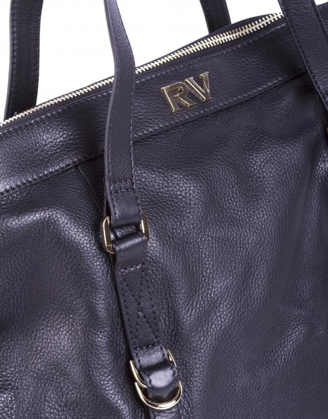 EDWARD NOIR:  Shopping cuir lisse