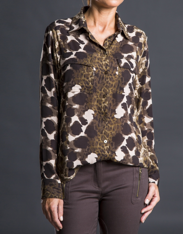Green animal print shirt