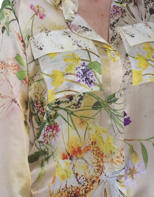 Camisa de seda en manga larga