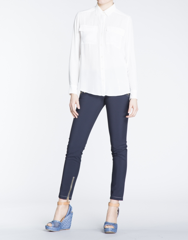 White long sleeve shirt with front pockets