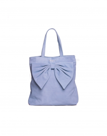 DAISY AZUL DENIM: Nobuck tote bag