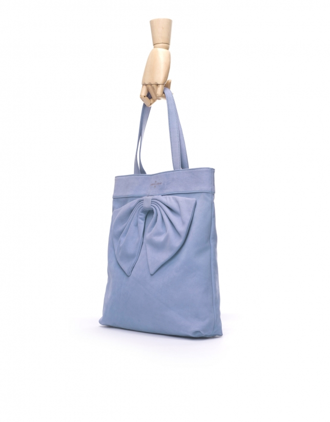 DAISY AZUL DENIM: Nobuck tote bag