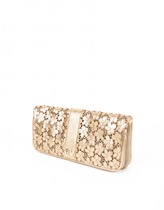 Gold die cut leather clutch bag