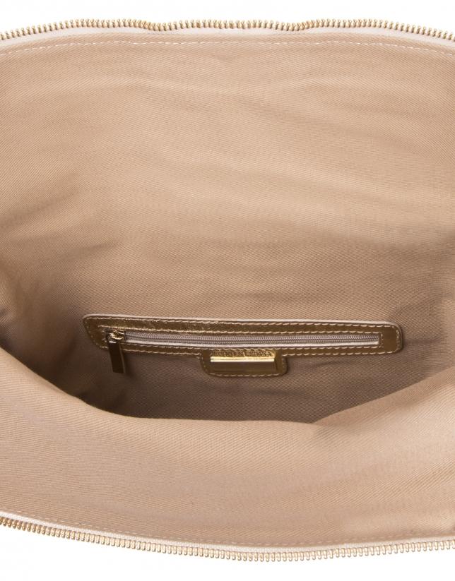 Gold die cut leather clutch bag