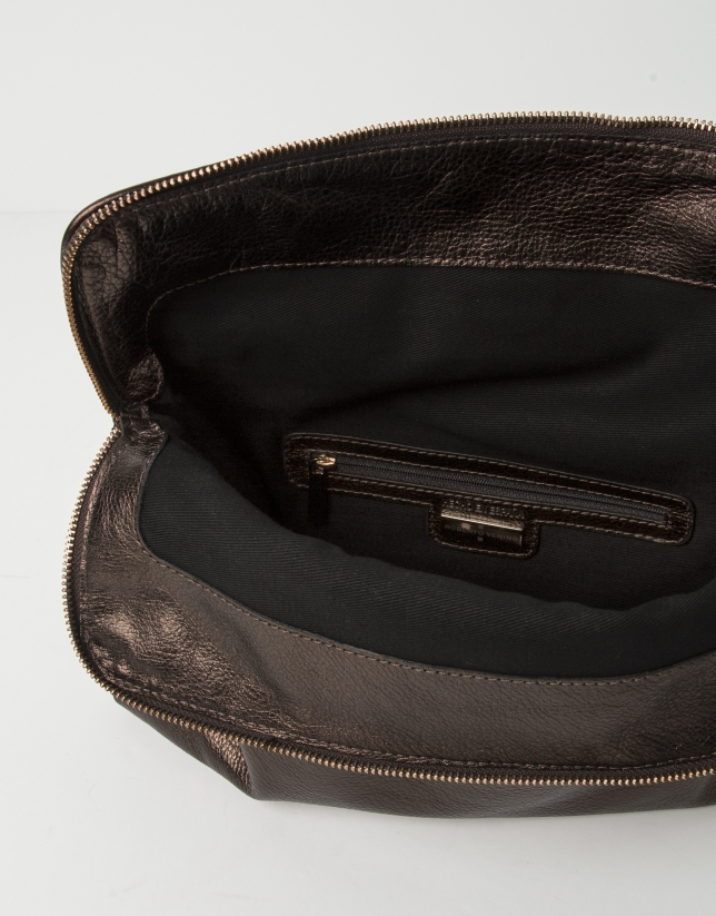 Brown cowhide leather clutch