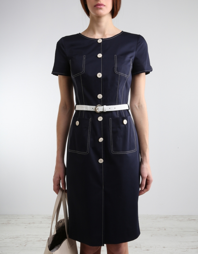 Navy blue short sleeved dress