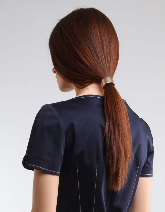 Robe bleu marine à manches courtes