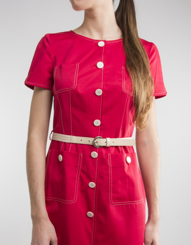 Red short sleeved dress