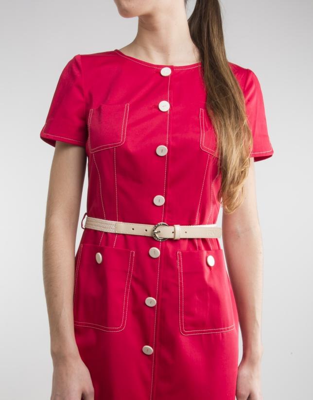 Vestido manga corta rojo