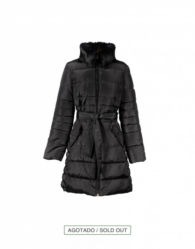 Black quilted coat