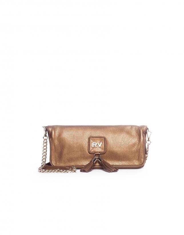 MARTINA DORADO: Folding leather clutch bag