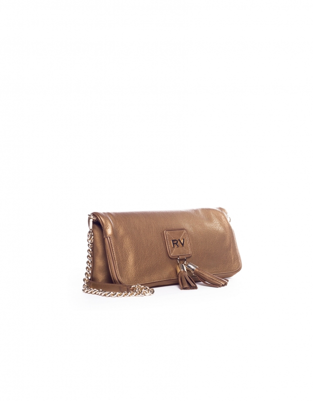 MARTINA DORADO: Folding leather clutch bag