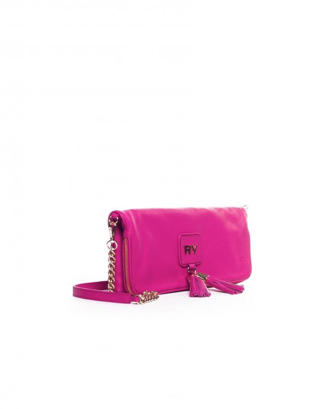 MARTINA FUCSIA: Folding leather clutch bag