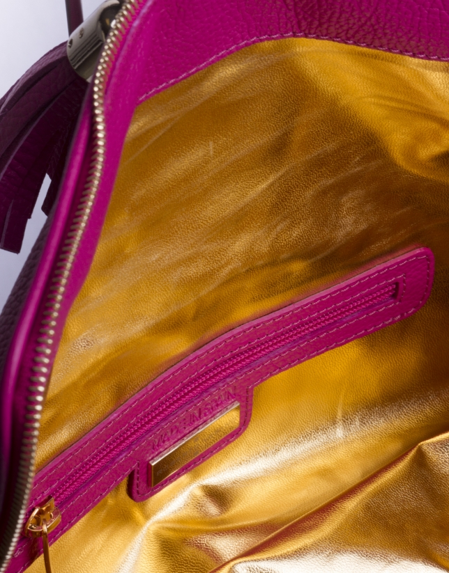MARTINA FUCSIA: Folding leather clutch bag