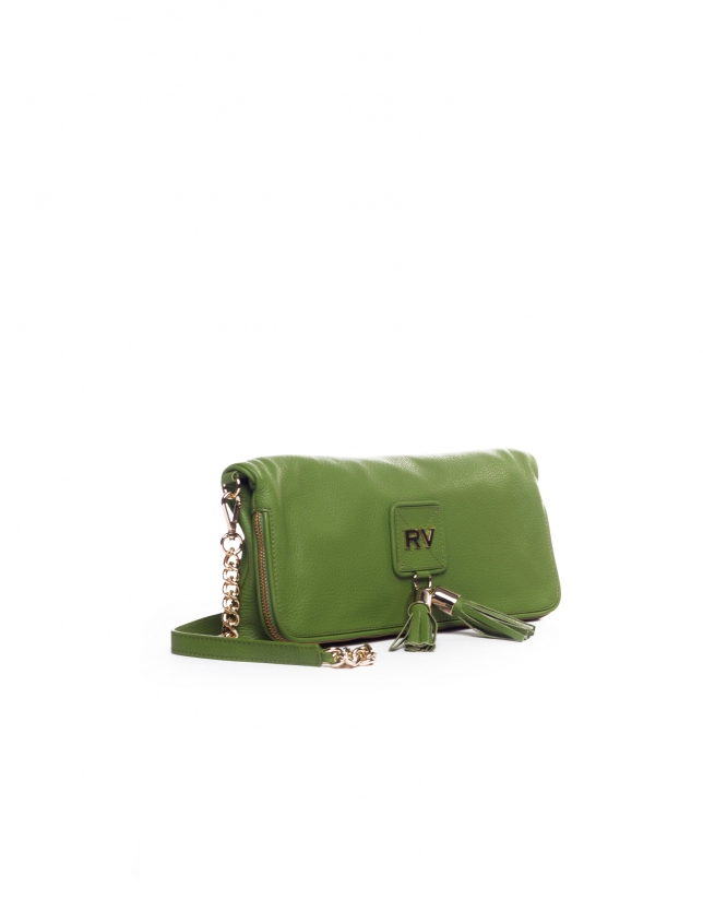 MARTINA VERDE: Folding leather clutch bag