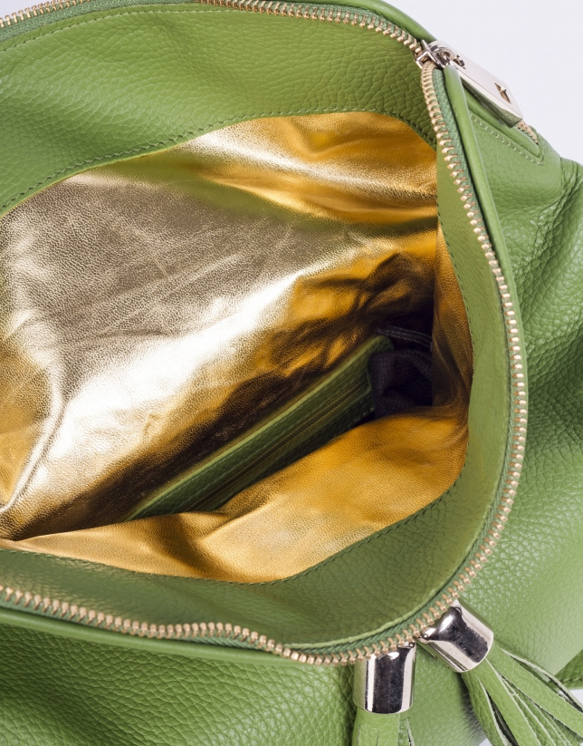 MARTINA VERDE: Folding leather clutch bag