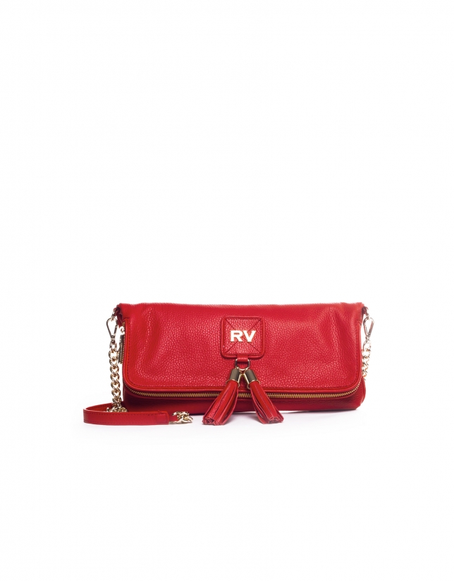 MARTINA ROJO: Folding leather clutch bag