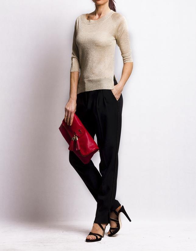 MARTINA ROJO: Folding leather clutch bag