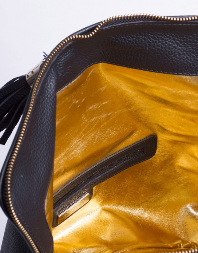 MARTINA NEGRO: Folding leather clutch bag