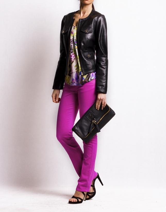 MARTINA NEGRO: Folding leather clutch bag