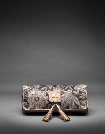 Clutch Martina Brocart cuir or et tissu baroque