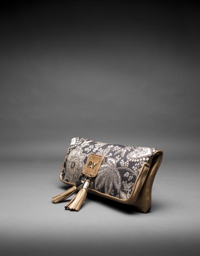 Bolso Martina Brocado en piel dorada y tejido barroco