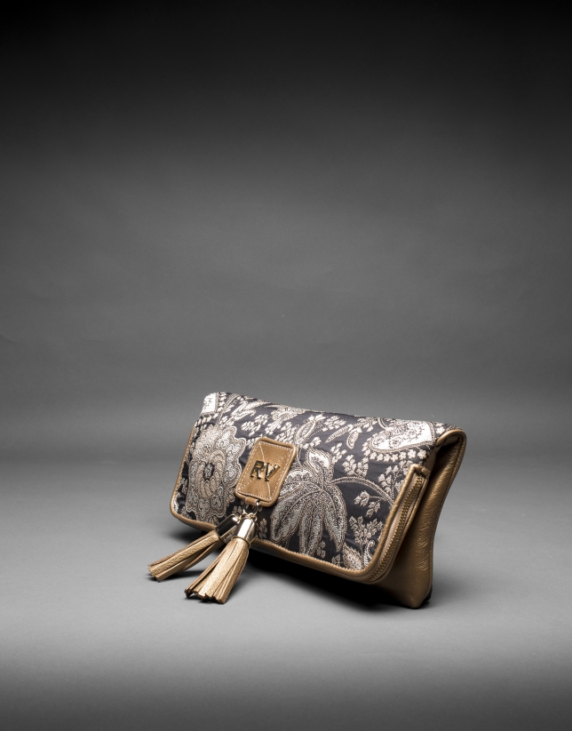 Gold leather baroque brocade Martina Bag