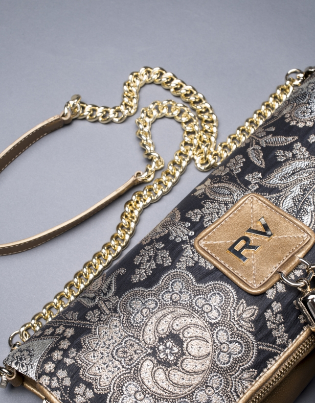 Gold leather baroque brocade Martina Bag