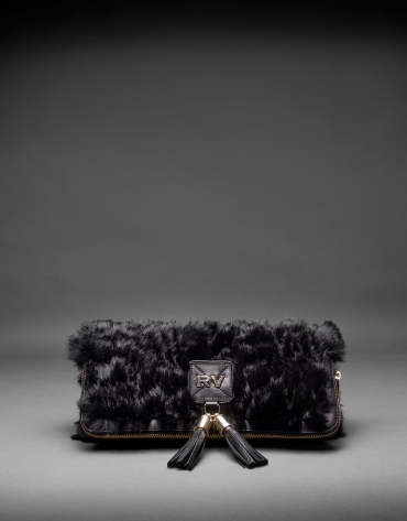 Black napa Matina Rabbit bag with rabbit fur