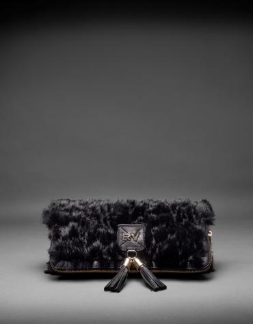 Black napa Martina Rabbit bag with rabbit fur