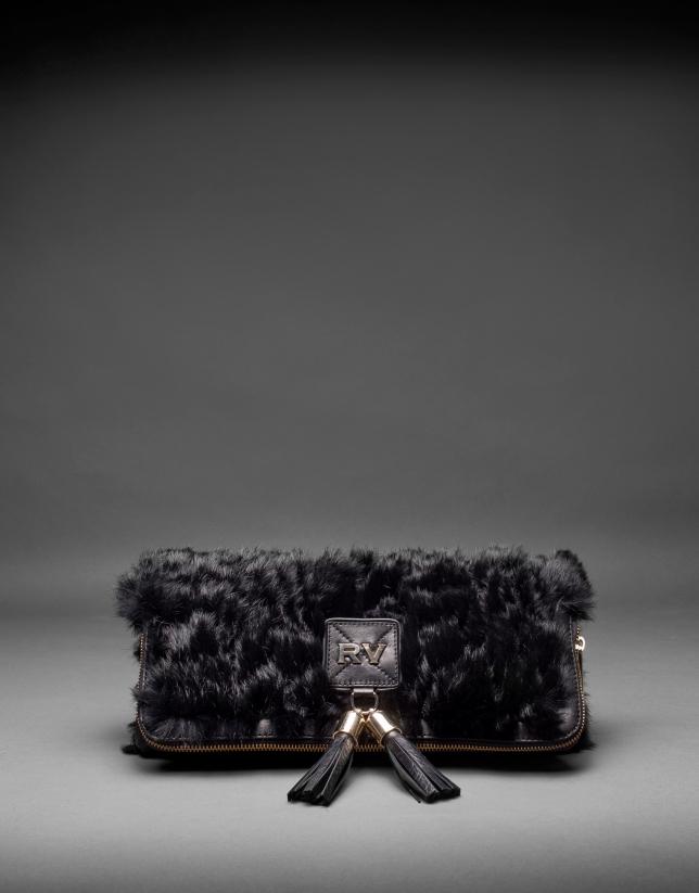 Clutch Martina Rabbit cuir nappa noir et fourrure lapin