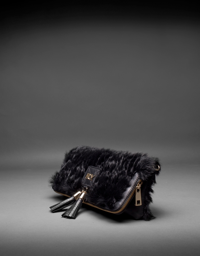 Black napa Martina Rabbit bag with rabbit fur