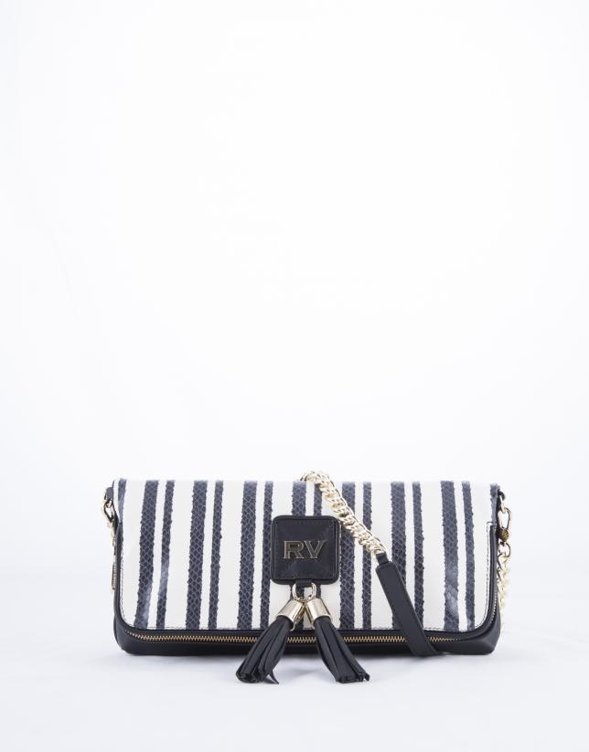 Martina Bahia : clutch en cuir vachette blanc et noir à rayures