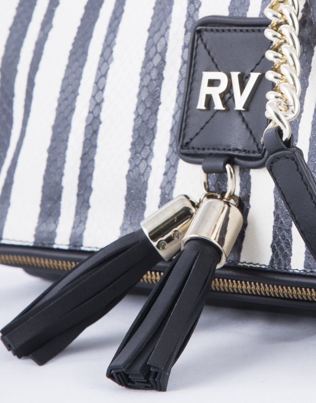 Martina Bahía white and black striped leather clutch bag