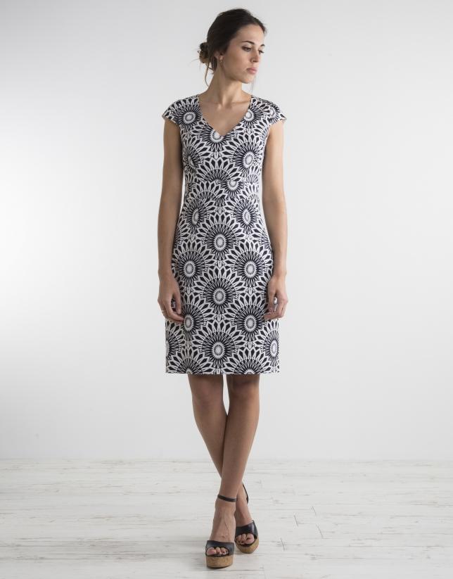 blue / white print straight dress